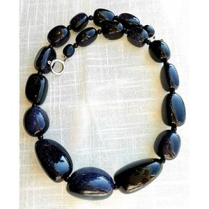 NWT blue Goldstone chunky statement necklace